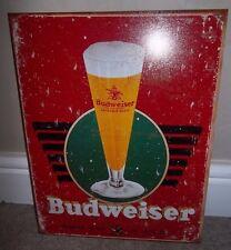 BUDWEISER/BUD  (GLASS), METAL WALL SIGN 40X30CM, BEER/PUB/BAR/KITCHEN/SALOON