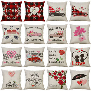 Happy Valentine's Day Throw Pillow Case Rose Sweet Love Pillow Cushion Cover