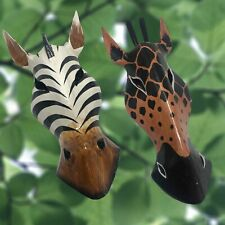 Giraffe Zebra Wooden Mask African Animal Jungle Safari Wall Hanging Art Decor