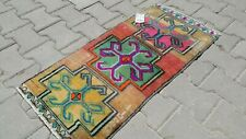 Oushak Rug 2x3 feet, Vintage, Turkish, Red, Bohemian, Area, Anatolian, Kilim