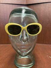 Vintage 1960's Oversized Retro Yellow Women's Sunglasses France  Mod