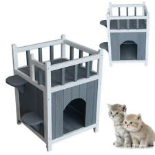 Wooden Cat Pet Home Cats Pets House Kitten Condo Kittens With Balcony Gray White