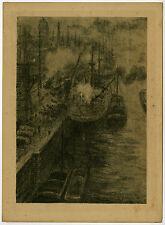 Antique Print-CITYSCAPE-HARBOR-Poreau-1918