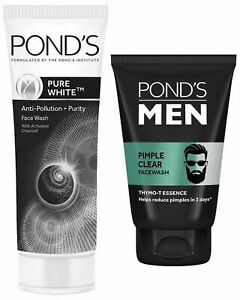 Pond's Pure White Anti Pollution+purity 100gm & Men Pimple Clear Face wash100gm