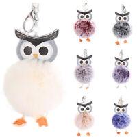 Cute Owl Key Chain Rabbit Fur Ball Clef Fluffy Key Ring Car Handbag Pendants Hot