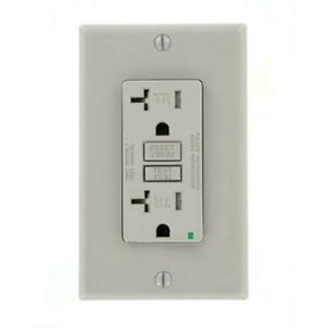 20 Amp SmartlockPro Tamper Resistant GFCI Outlet, Gray by Leviton