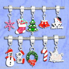 20 Enamel Christmas Dangle Beads Fit Charm Bracelet GIFT