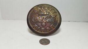 """RARE VINTAGE 1930'S """"DRINK COCA-COLA FIRST"""" BRASS STREET SIDEWALK SAFETY MARKER"""