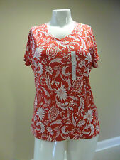 Croft&Barrow Women's Classic Tee Short Sleeve V-neck 100%Cotton Paisley Red NEW
