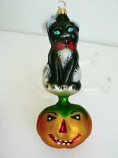 Nwt Radko Christmas Ornament Cat Kitty Patch On Pumpkin Halloween