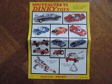 DINKY TOYS affiche feuillet catalogue original de 1971