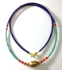 Afghan Tiny Lapis Coral Turquoise Seed Small Beads Necklace Gold Plated Vintage
