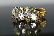 solid real 14K yellow gold 4.01 ct  round brilliant cut screw-back stud earrings