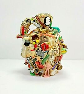 Folk Tramp Art Style Memory Jug~Vtg Charms Trinkets Found Objects~Contemporary