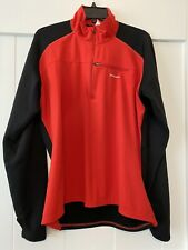 Patagonia Mens L Red Black 1/4 Zip Waffle Fleece Shirt Layer Pullover Vgc