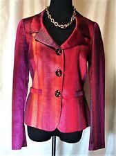 EUC Rena Lange 6 Silk Blend Red Purple Burgundy Silver Sheen Lined Blazer Jacket