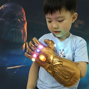 Kids Thanos Gloves Cosplay Movie Series Endgame Infinity War Gauntlet LED