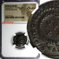 Roman Empire Constantine I AD 307-337 AE3 BI Nummus Silvered NGC Ch AU (040)