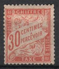 "FRANCE STAMP TIMBRE TAXE 34 "" 30c ROUGE-ORANGE "" NEUF x TB RARE   M064"