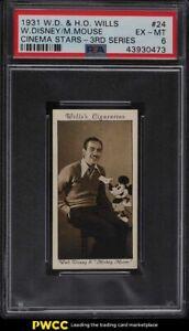 1931 Wills Cinema Stars 3rd Series Walt Disney Mickey Mouse #24 PSA 6 EXMT