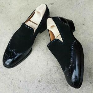 Men's New Handmade Black Shoes, Men's Leather Suede Wingtip Loafer Fashion Shoes