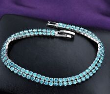 White Gold Plated Tennis Charm Bridal Bracelet With Blue Crystals for Women