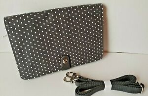 New Thirty-One Double Up Cross body Purse City Charcoal Swiss Dot 6204235A0000