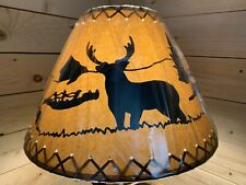 "Rustic Oiled Kraft Laced Deer Lamp Shade - 16"""