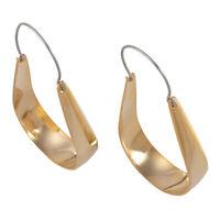 Vintage Long Loop Hoop Pierced Earrings Polished Gold Tone