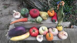 Faux Fruit Vegetables Lot 18 Fabric Covered Bowl Fillers Staging Prop Decor