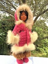 "Vintage Native American Eskimo Fur Loretta Daum Byrne Doll 13"" Unique Ooak ��j8"