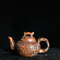 """3.2"""" Chinese antiques Boxwood Hand-carved Flower and bird designs teapot"""