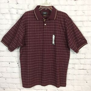 HAGGAR Cool 18 Mens Sz L Polo Shirt Wine Check Performance Golf Wear Embroidered