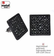 NEW Men's Hip Hop Iced Out Black XL Square Micro Pave CZ Stud Earrings TE 521 BK