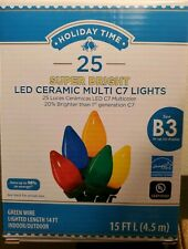 """025 Multi-Color LED Ceramic C7 Lights (Green Wire) 14"""" for Indoor or Outdoor NEW"""