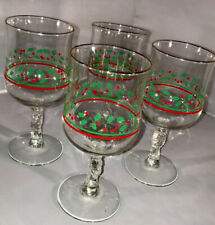 Libby Holly Berry Bow Stem Glasses 1987