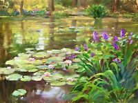 Water lilies Landscape Pond Original Oil Painting Impressionist Kaloustian Art