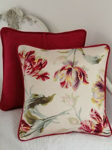 """Cushion cover laura ashley gosford cranberry 16""""(piped cranberry )"""