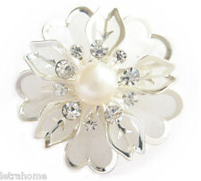 Vintage White Freshwater Pearl Platinum Plated Rose Flower Brooches Corsage