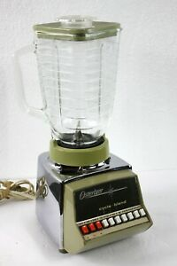 Vintage Osterizer Avocado Green Chrome Glass Cycle Blend 10 Speed Blender TESTED