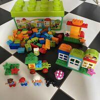Lego Duplo Bundle With Figures, Car, Dog, Base Plates & Lego Brick Box
