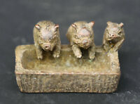 """1.8"""" Collect Old Chinese Bronze Fengshui 12 Zodiac Animal Lovable 3 Pig Statue"""
