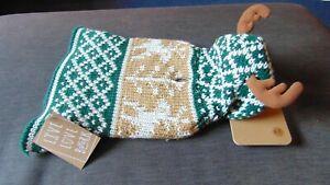 "Live Love Bark Christmas Dog Jumper Reindeer Knitted  XS L 8-10"" Green Mix BNWT"