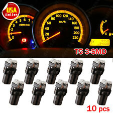10X Amber Yellow T5 Wedge 3-SMD Dashboard Gauge LED Light Bulbs 37 58 70 73 74