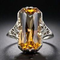 1Pc Vintage Frauen versilbert Ring Citrin Party Hochzeit Verlobung Größe 6-10