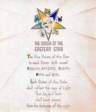 Antique Order of the Eastern Star poem print ring art poster OES Masonic