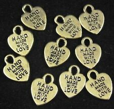 10 x Hand Made With Love Gold Finish Metal Charms