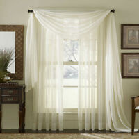 SHEER Plain Voile SCARF Curtain Panel Sets Net Sheer WHITE CREAM Extra WIDE LONG