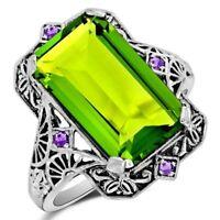 12CT Peridot & Amethyst 925 Sterling Silver Art Nouveau Ring Jewelry Sz 6, ZF7