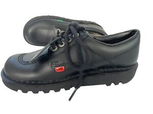 Kickers Kick Lo Core Black School Shoes Boys Girls Retro Style Leather 5 38